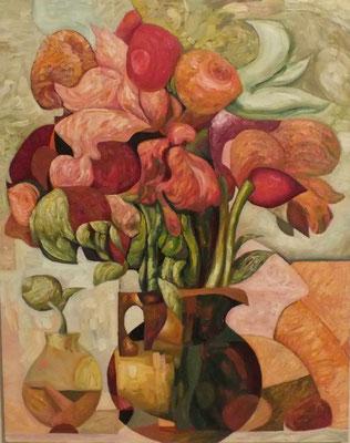 Григорий Лесухин.      Две вазы.       2015 г.      Холст, масло.    65х55 см.