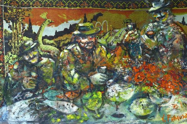 Владимир Фрумусаки.     Кутеж князей.       (Посвящение Пиросмани).        2003 г.       Гобелен, холст, масло.      130х200 см.