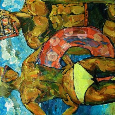 Катерина Поединщикова.       Девушка с кругом.    2014 г.    Холст, масло.    80х80 см .