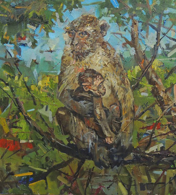 Кирилл Бородин.    С мамой (Обезьянки).      2014 г.     Холст, масло.    50х60 см.