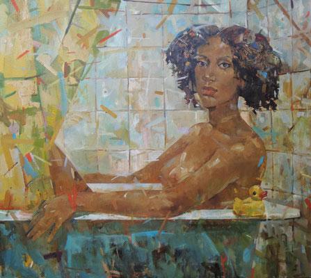 …Каролина ненавидит ванны в хрущевках.                                                                                                                В ванной.   2013 г.   Холст, масло.  80х90 см.
