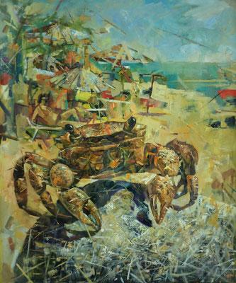 Кирилл Бородин.    Хозяин пляжа.     2013 г. Холст, масло.   90х75 см.