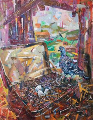 Кирилл Бородин.      На чердаке.    2015 г.     Холст, масло.    90х70 см.
