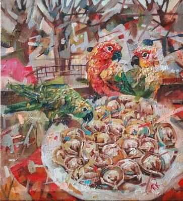 Кирилл Бородин.  Уральские  пельмени.     2015 г.    Холст, масло. 90х80 см.
