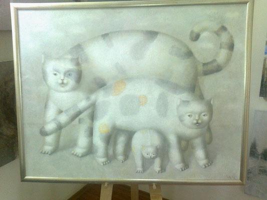 Юрий Первушин.    Три кошки.      2010 г.     Холст, масло.   70х90 см.