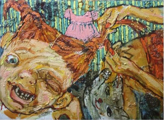 Катерина Поединщикова.     Нежные мамины руки. (Косичка).    2014 г.    Холст, масло.    80х110 см.