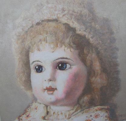 Юрий Первушин.      Старинная кукла 2.       2014 г.     Холст, акрил.    60х60 см.