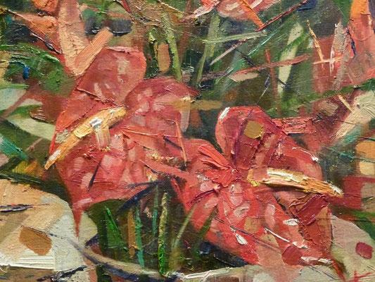 Цветы красные.             Фрагмент.