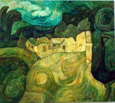 Григорий Лесухин.         Село.       2006 г.    Холст, масло.     75х87 см.