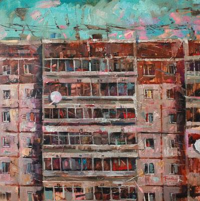 Кирилл Бородин.     Брежневка (9-этажка).     Холст, масло.    80х80 см.