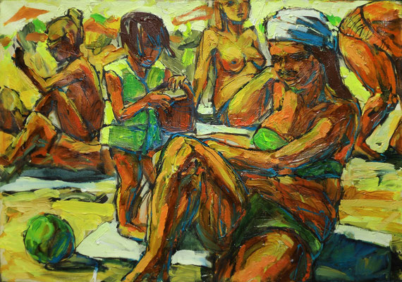 Катерина Поединщикова.    Пляж.     2014 г.   Холст, масло.   70х100 см.