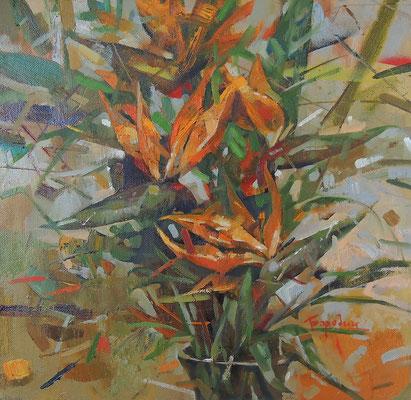Цветы оранжевые.              2014 г.    Холст, масло.     48х48 см.