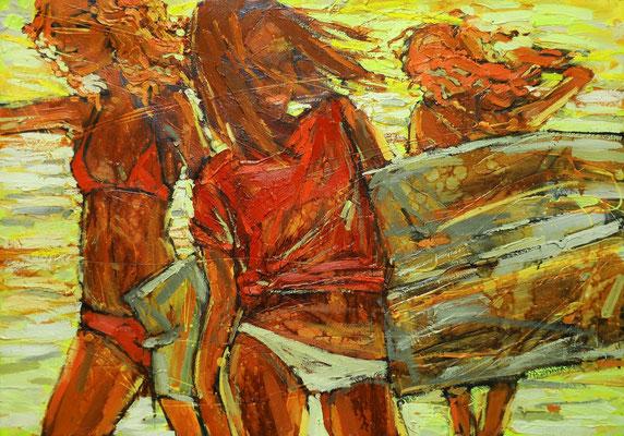 Катерина Поединщикова.     Серфинг-1.     2014 г.    Холст, масло.   70х90 см.