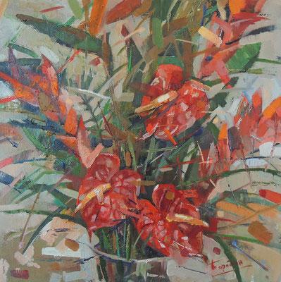 Цветы красные.      2014 г.  Холст, масло.   48х48 см.