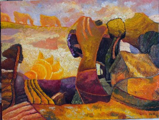 Григорий Лесухин.       Пасущиеся в небе золотые облака.       2015 г.     Холст на картоне, масло.     60Х50 см.