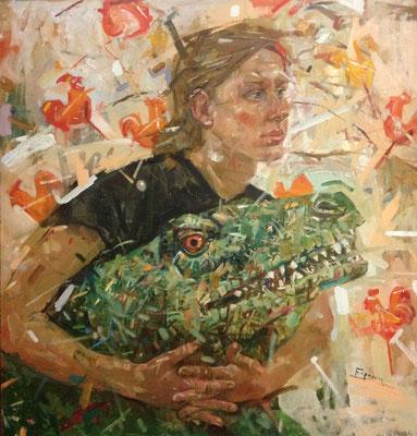 …У меня был ручной динозавр по имени Парень. Парень был известным арт-критиком, однажды он познакомился с динозаврихой, хозяйкой которой была Каролина. После «Ночи музеев» пропали и Парень, и картина.  Сосунки (Автопортрет). 2014 г. Холст, масло. 85х80 см