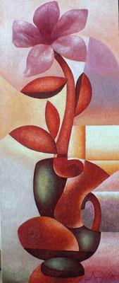 Григорий Лесухин.       Рассветный цветок.     2015 г.     Холст, масло.     80х35 см.