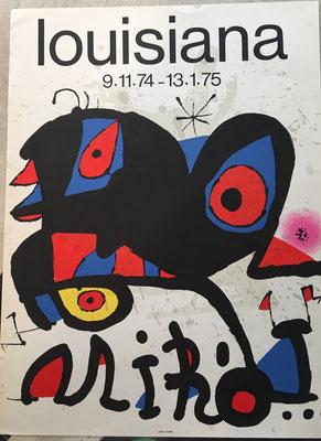 Joan Miro affiche lithographique, louisiana 1974-1975, 66 x 49 cm, Arte imprimeur