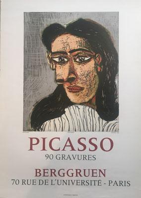 Pablo Picasso affiche lithographique originale. Galerie Berggruen, paris, 1971, Picasso 90 GRAVURES Mourlot Imprimeur  70,5 x 50,5 cm