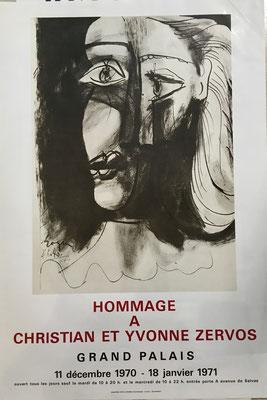 PABLO PICASSO AFFICHE LITHOGRAPHIQUE, Hommage à Christian et Yvonne Zervos 1971
