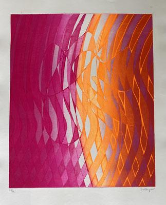 stanley William Hayter Labris, 1973 (Black & Moorhead  366)   Eau-forte et vernis mou en couleurs sur BFK Rives, signée et numérotée Feuille : 65 x 50