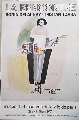 sonia delaunay affiche lithographique originale , la rencontre , Sonia Delaunay, Tristan Tzara, Musée d'Art Moderne de la Ville de Paris