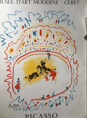 PABLO PICASSO LA CORRIDA AFFICHE LITHOGRAPHIQUE POUR LE MUSÉE DE CERET, 1982