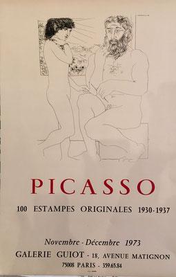 Pablo Picasso 100 estampes originales 1930-1937, Galerie Guiot Paris, 1973 affiche originale lithographique ` 65 x 44 cm