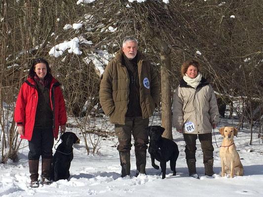Gitta mit  Tjara, Michael mit Clockwork Baxter's Barley Bree,  Anja mit Fräulein Frida vom Heveser Hoff