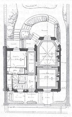 Plans du rez-de-chaussée et du premier étage de l'hôtel particulier (1894). Noter la volumétrie de la construction, et l'exploitation sur la longueur du terrain pour les pièces principales.