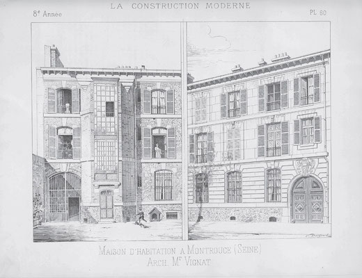 "Reproduction de l'article ""Maison d'habitation à Montrouge (Seine)"", La Construction Moderne, 3 juin 1893, p.413-415, pl.60-61."