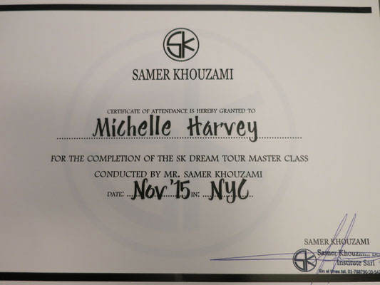 Certificate of Completion from the AMAZING Samer Khouzami! The best contour techniques I have EVER seen. #Love