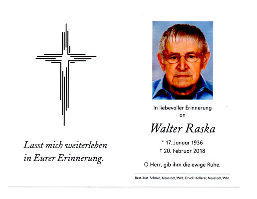 Walter Raska, Todesanzeige