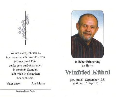 Winfried Kühnl, Todesanzeige