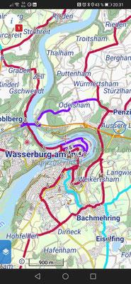 Karte mit Fahrradrouten