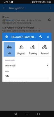 """Zuordnung der Profile. Wichtig: bei den Routing Profilen nach unten scrollen um die externen Profile im Ordner """"profile2"""" zu wählen"""