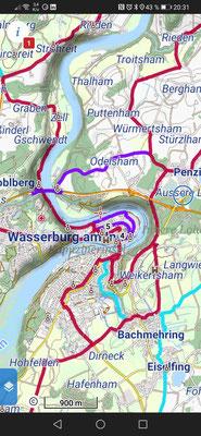 """Karte mit Fahrradroute und Schattierung (unter """"zusätzliche Ebenen"""" einschalten)"""