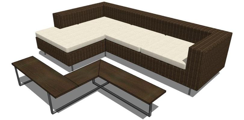sofa en L  y mesa para exteriores