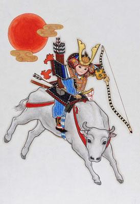 年賀状原画 「騎牛図」