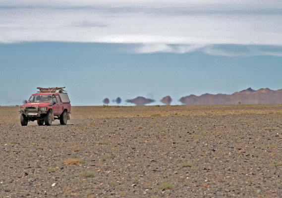 Fatamorgana in der Wüste Gobi