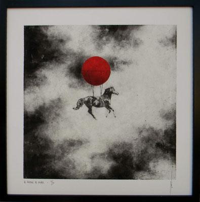 Antoine Josse - Le chasseur de nuages - Réf 269 - N°3/30 - 50 cm x 50 cm - Encadrement sous-plexi contour métal noir