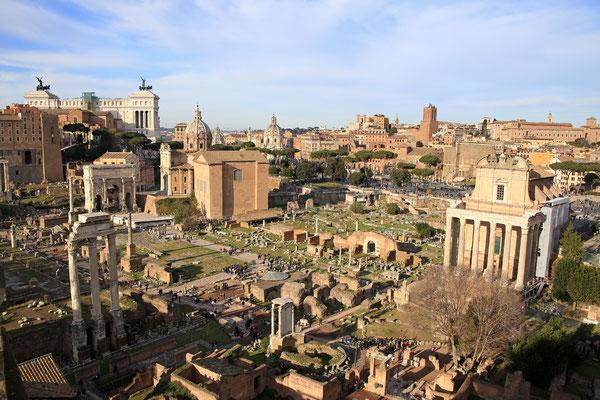 Blick vom Palatin: Wimmelbild des Forum Romanum