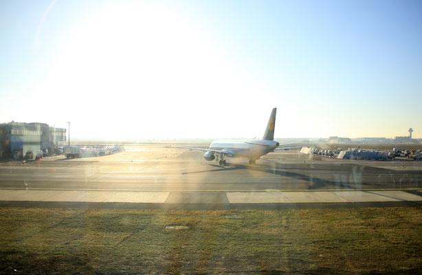 Schönes Wetter schon beim Start in Frankfurt