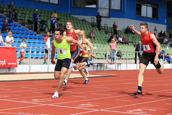 100 m der Männer beim Mehrkampfmeeting in Marburg