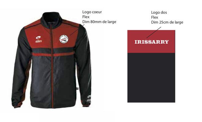 Coupe vent 26 € Logo flex coeur et IRISSARRY dans le dos