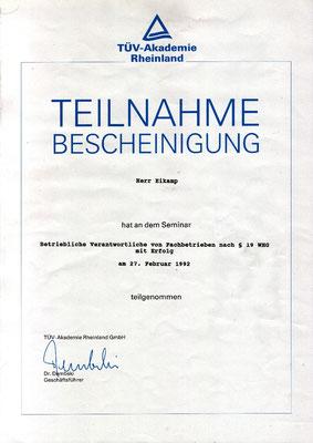 Bruno Eikamp - Betrieblich Verantwortlicher von Fachbetrieben