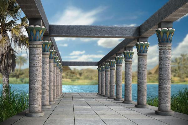 Terrasse mit Blick auf den Nil