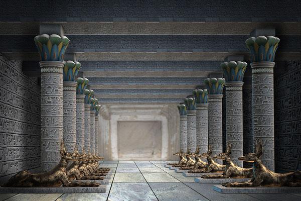 Säulenhalle mit goldenen Anubis-Figuren