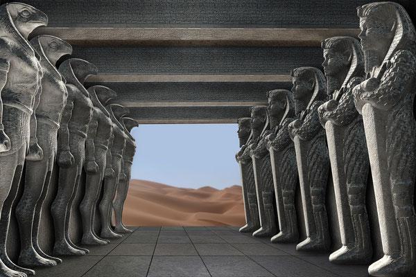 Figurenhalle mit diversen Hintergründen - hier: Wüste