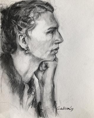 Portret in houtskool - 60x40cm - '19